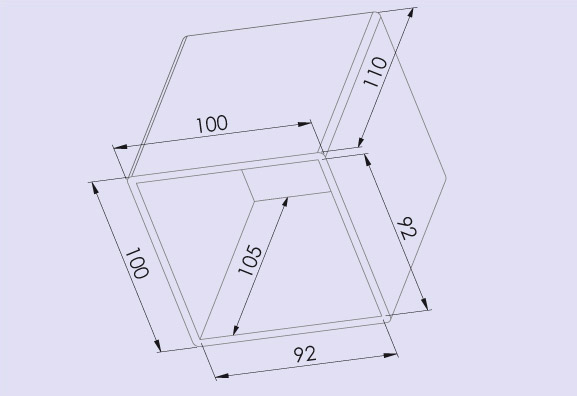 Transformer cover 100x110 mm for tube amps, dimensions